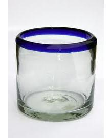 Wholesale MEXICAN GLASSWARE / 'Cobalt Blue Rim' DOF - rock glasses  / These Double Old Fashioned glasses deliver a classic touch to your favorite drink on the rocks.<BR>1-Year Product Replacement in case of defects (glasses broken in dishwasher is considered a defect).